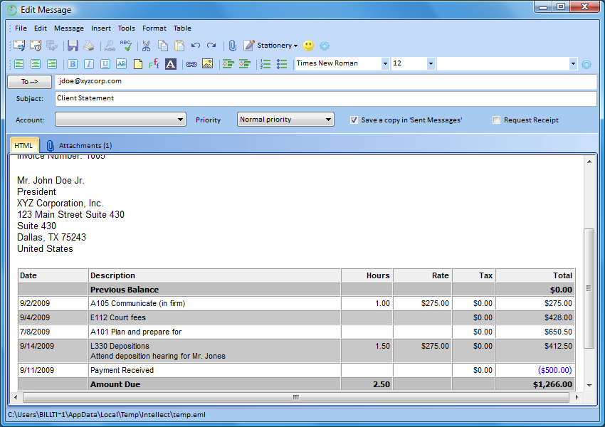 email invoices with legal billing 6
