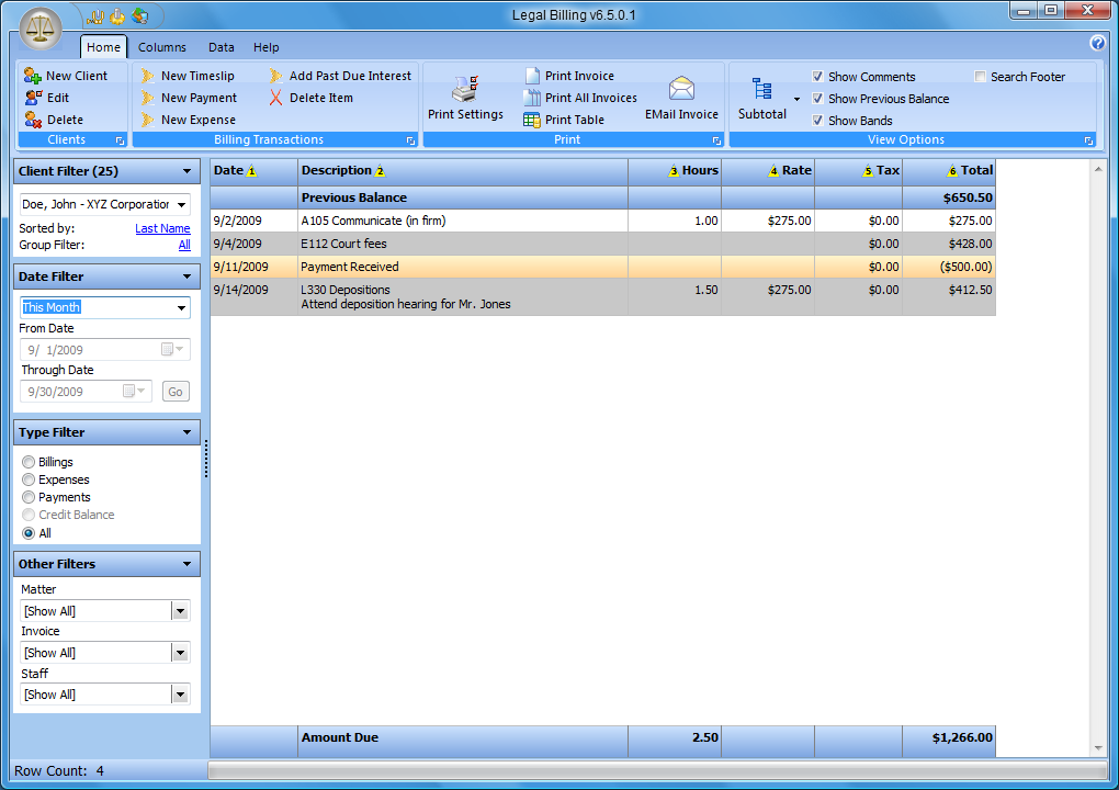 legal billing 6 main screen overview