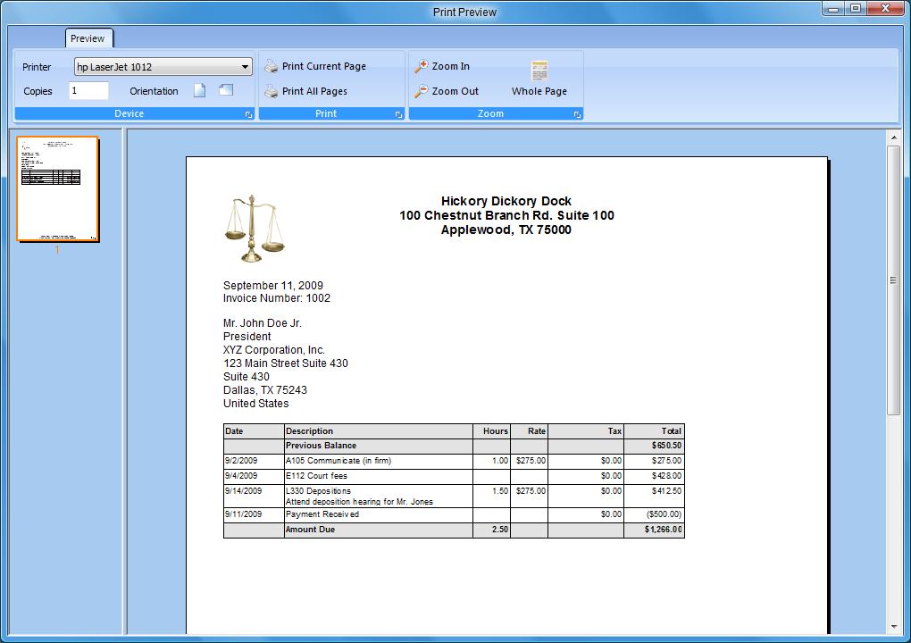 legal billing help printing